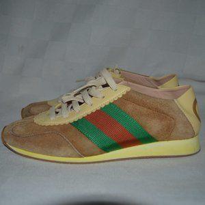 $750 Sz 37 6.5 Gucci Brown Suede Rocket Sneakers